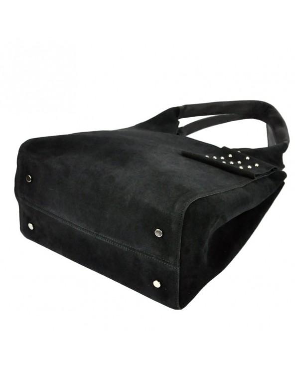 Włoska torebka zamszowa vera pelle czarna