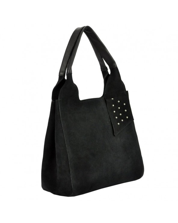 e2d72ab2f4ac9 Włoska torebka zamszowa vera pelle czarna