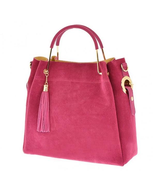 287a3dfe02646 Włoska torebka zamszowa duży kuferek z frędzelkiem a la LV fuksja