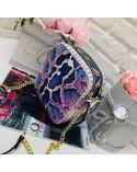 Pikowana raportówka skóra węża z łańcuszkiem fiolet i róż