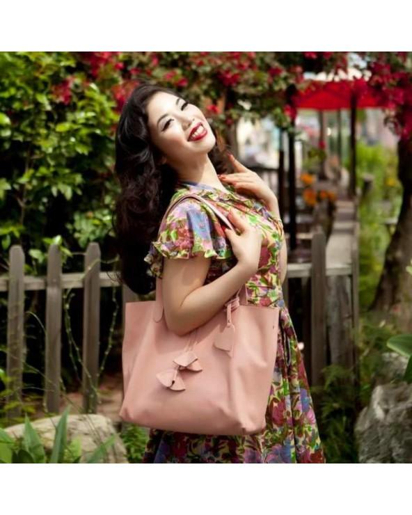 Shopper skórzany Catherine róż pastelowy