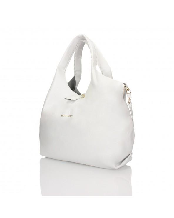 3450236a28285 Luksusowa torebka worek z miękkiej skóry naturalnej Italiano biały perłowy
