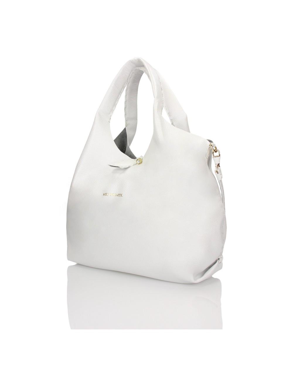 Luksusowa torebka worek z miękkiej skóry naturalnej Italiano biały perłowy