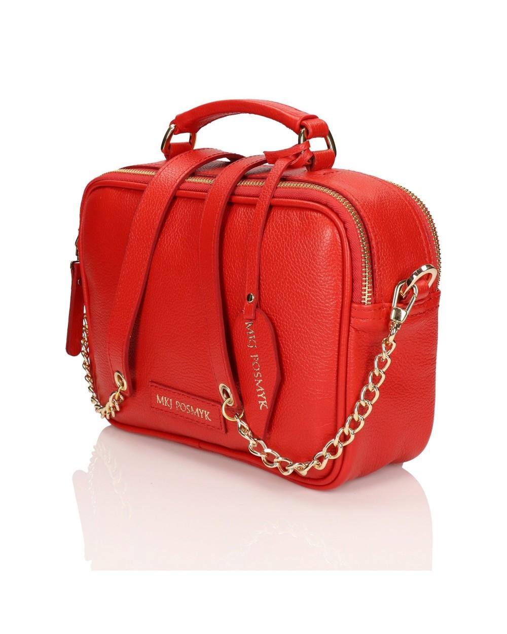2-komorowa torebka kuferek skórzany czerwona