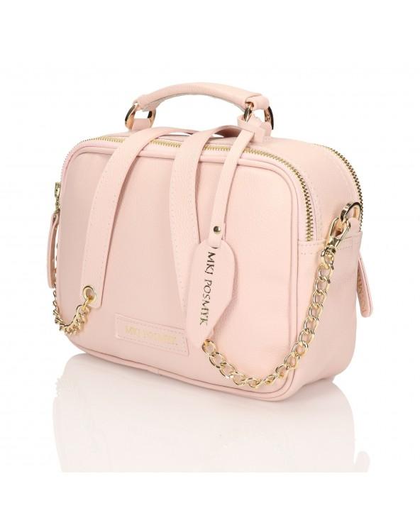 2-komorowa torebka kuferek skórzany róż pastelowy