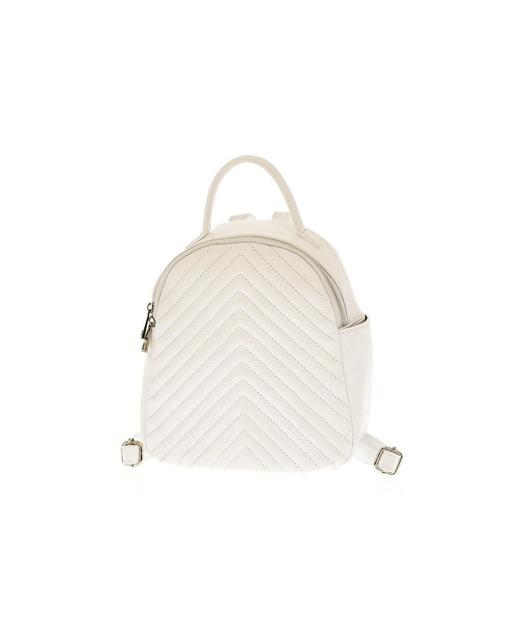 Plecak damski skórzany pikowany biały