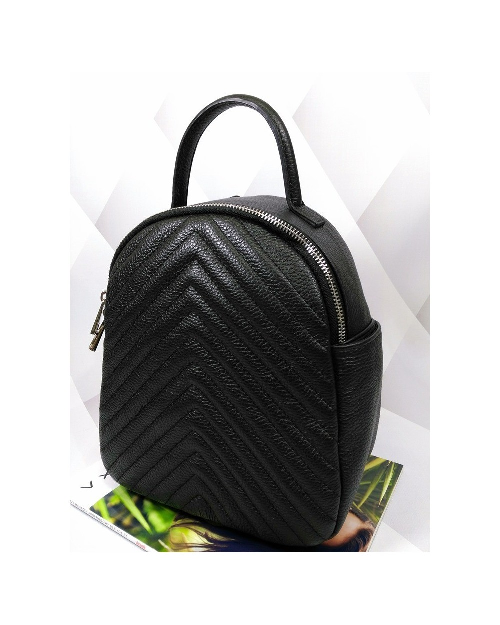 Plecak damski skórzany pikowany czarny