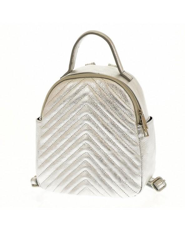Plecak damski skórzany pikowany srebrny