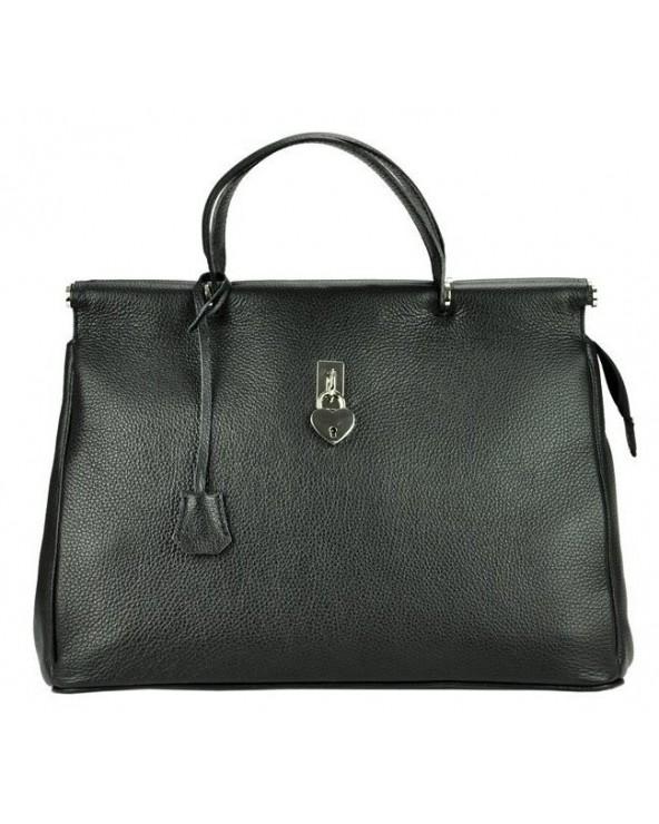Włoska torebka z kłódką a'la Birkin vera pelle czarna