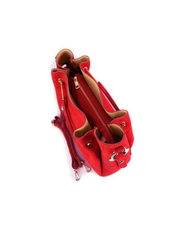 Włoska torebka zamszowa duży kuferek z frędzelkiem a'la LV czerwony