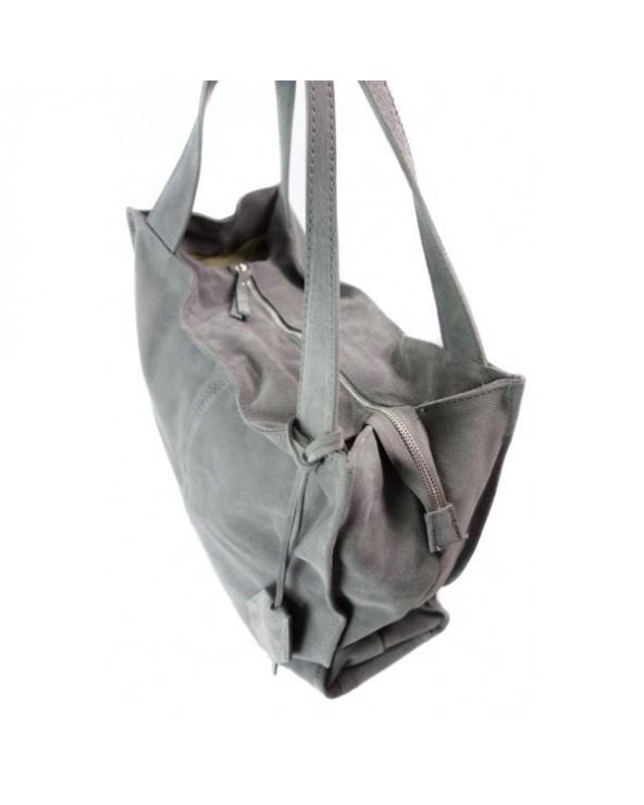 Duża zamszowa torebka worek XL vera pelle szara
