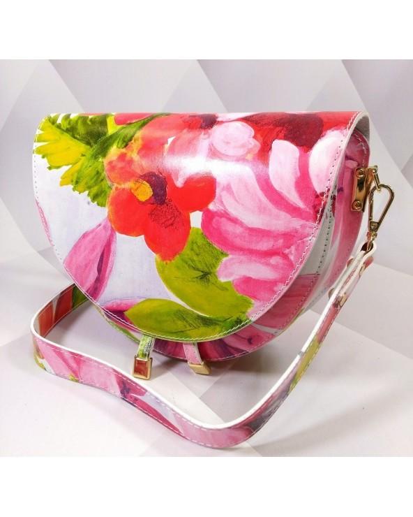 Owalna torebka w kwiaty a'la Chylak kolorowa