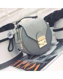 Okrągła torebka a'la Furla z zamszem szara