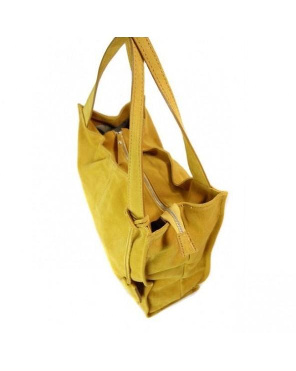 Duża zamszowa torebka worek XL vera pelle miodowa