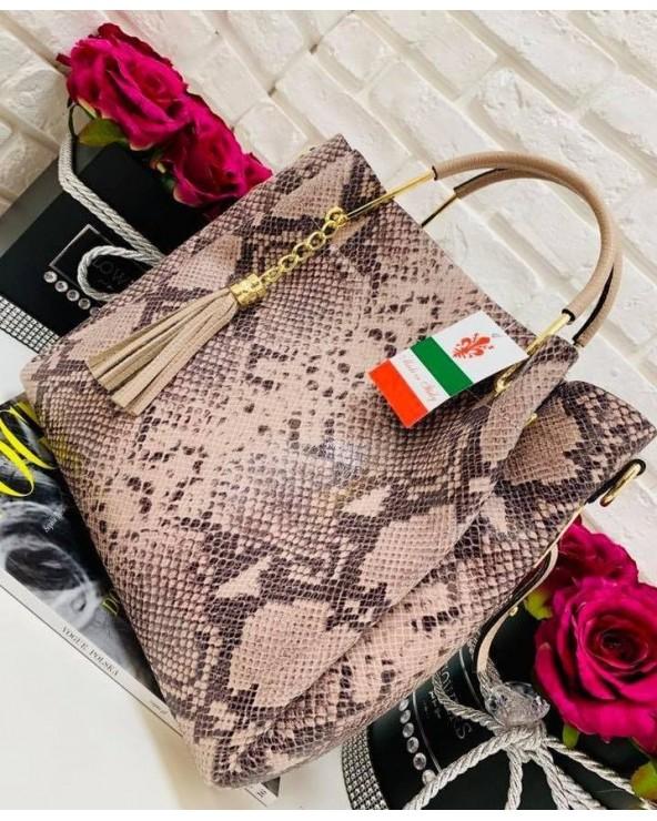 Włoska torebka skóra węża duży kuferek z frędzelkiem a'la LV powder-rose