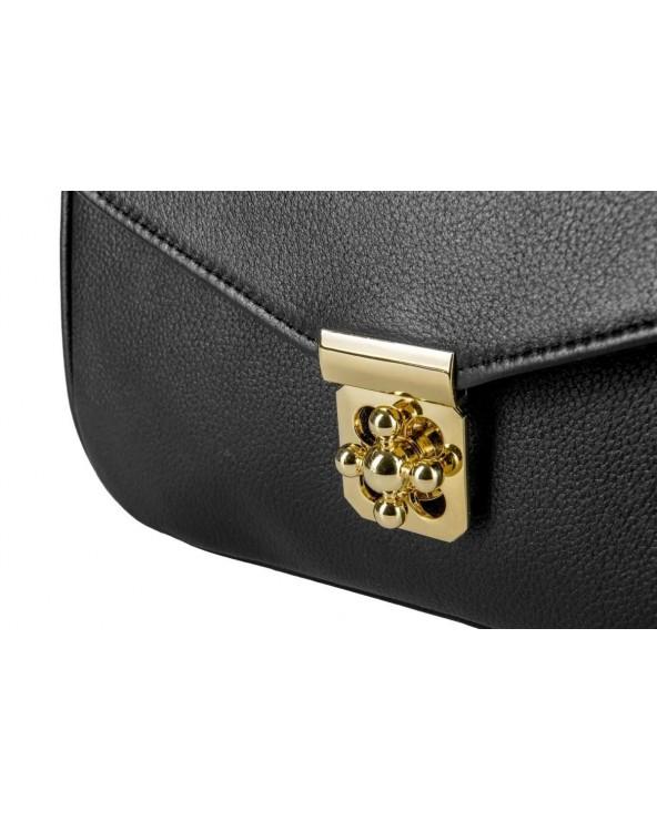 Skórzany kuferek Alesandra skórzana torebka Gawor czarna