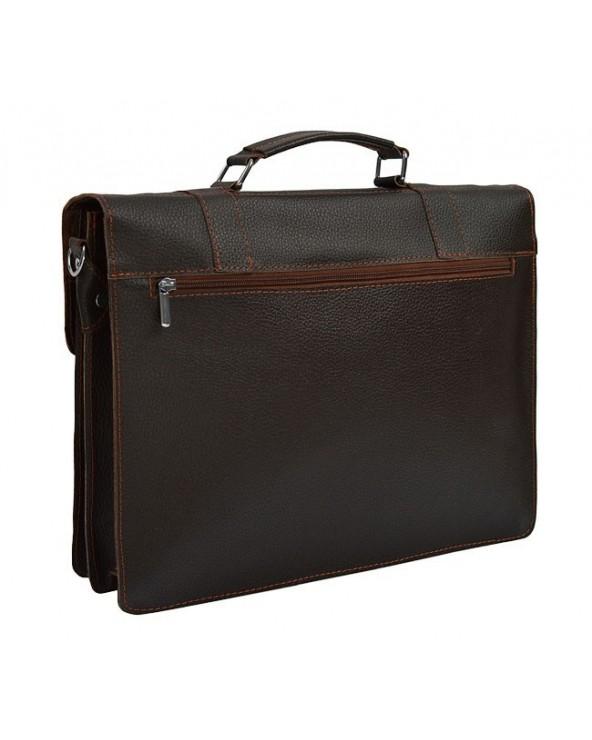 Duża męska skórzana torba na ramię A4 brązowa