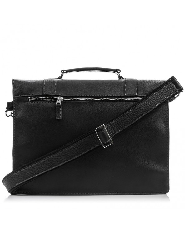 Duża męska skórzana torba na ramię A4 czarna grafitowa