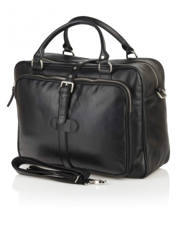 Duża męska torba biznesowo-podróżna ze skóry naturalnej czarna