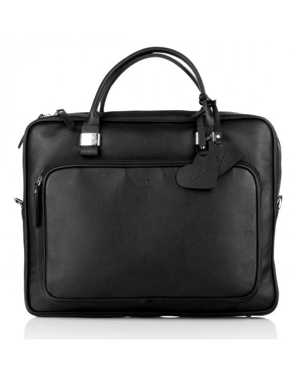 Skórzana torba biznesowa unisex czarna