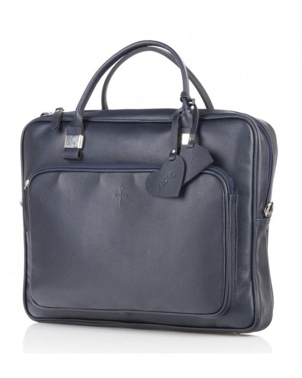 Skórzana torba biznesowa unisex granatowa