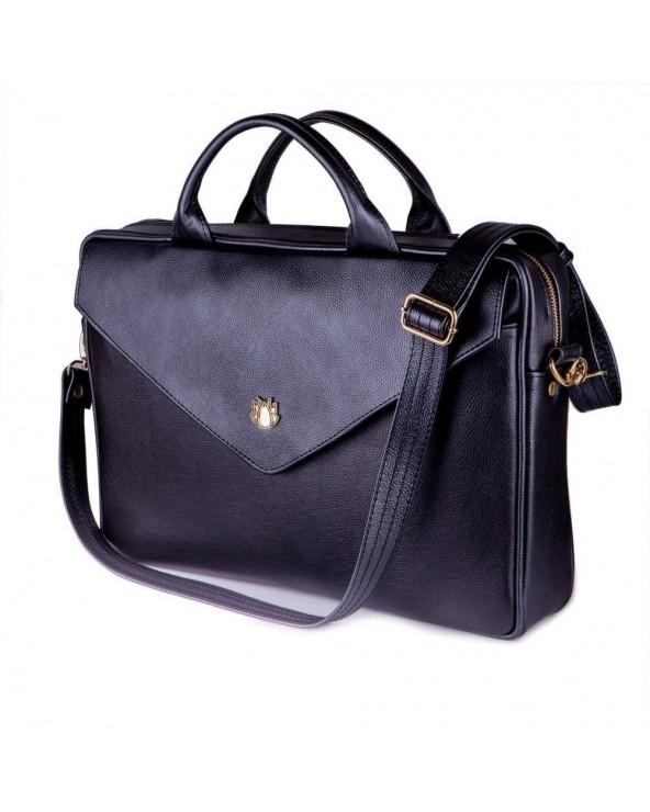Damska skórzana torba na laptopa czarna