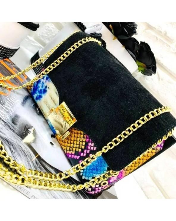 Elegancka torebka skóra węża i zamsz kolorowa czarna