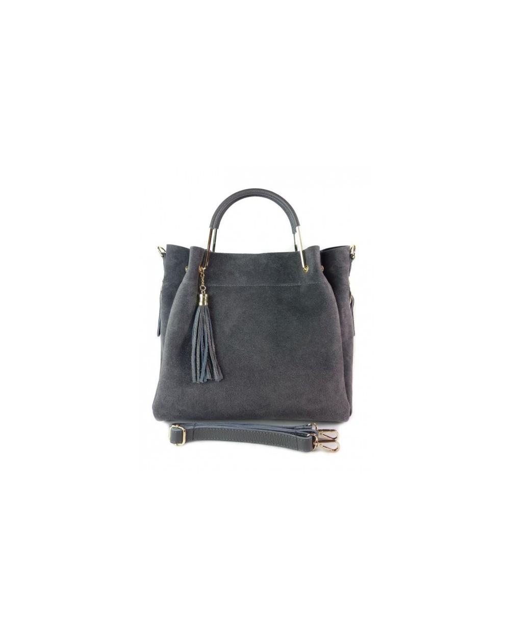 Włoska torebka zamszowa duży kuferek z frędzelkiem a'la LV szara