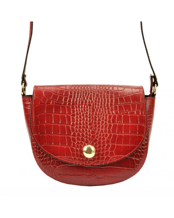Klasyczna torebka listonoszka vera pelle skóra krokodyla czerwona