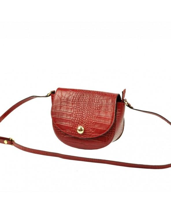 Klasyczna torebka listonoszka vera pelle skóra krokodyla czerwona na ramię