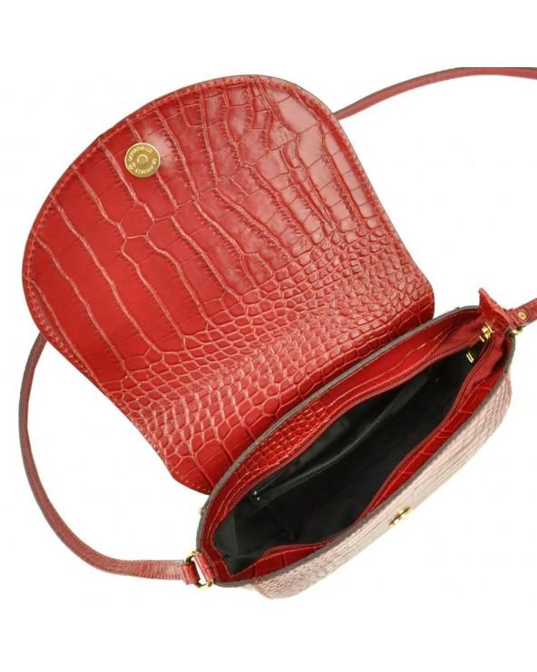 Klasyczna torebka listonoszka vera pelle skóra krokodyla czerwona wnętrze