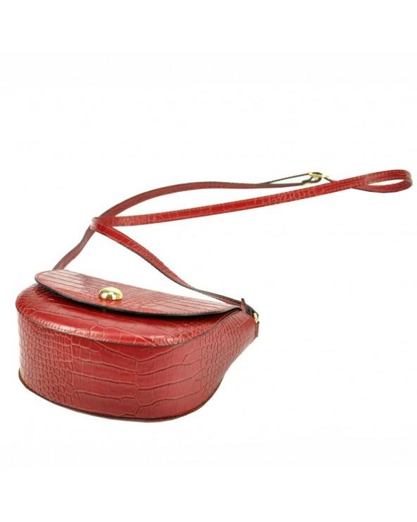 Klasyczna torebka listonoszka vera pelle skóra krokodyla czerwona spód