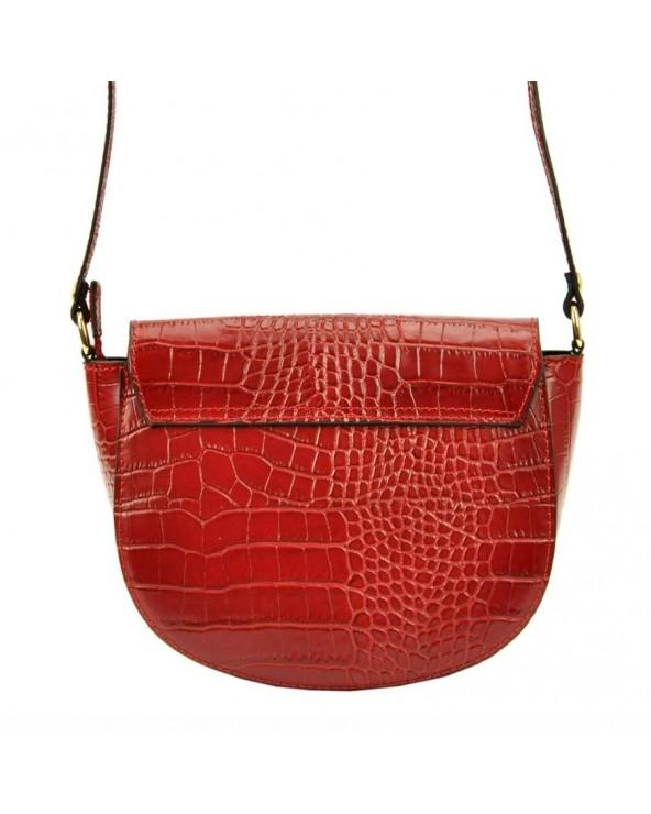 Klasyczna torebka listonoszka vera pelle skóra krokodyla czerwona tył