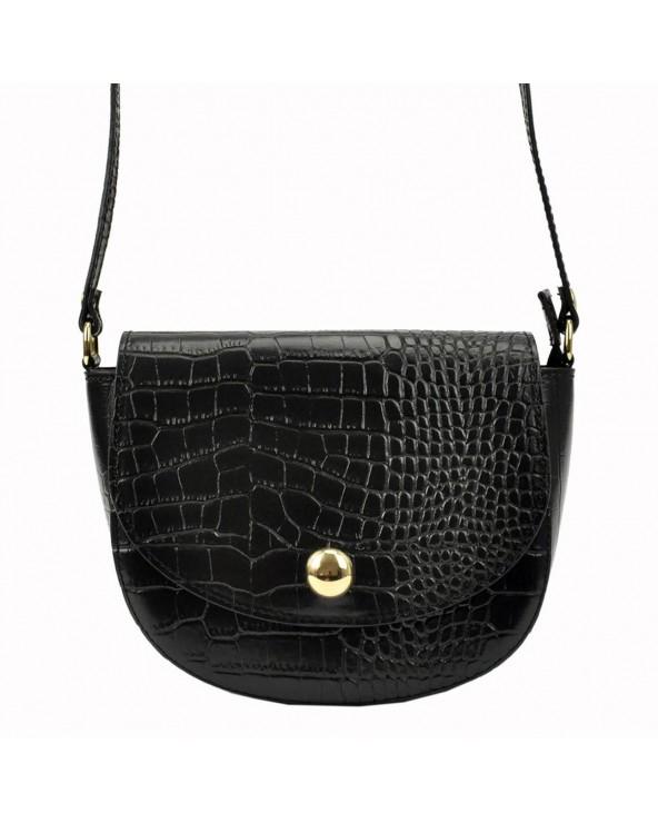 Klasyczna torebka listonoszka vera pelle skóra krokodyla czarna