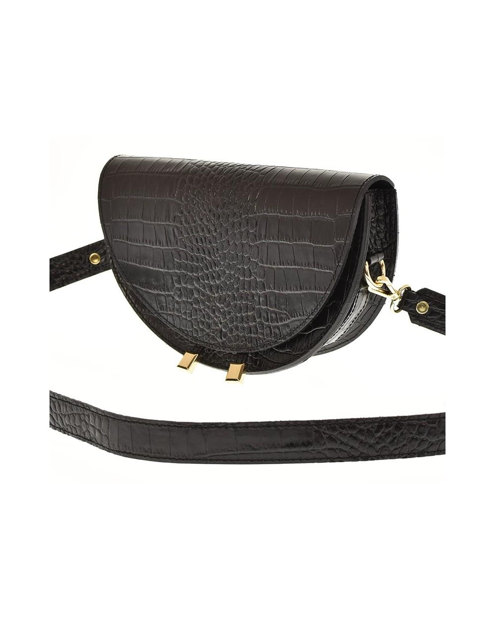 Półokrągła designerska torebka skórzana krokodyl czarna | Torebki damskie skórzane