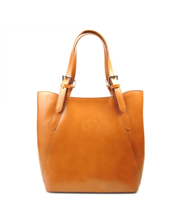 Shopper bag włoska torebka skórzana A4 Camel
