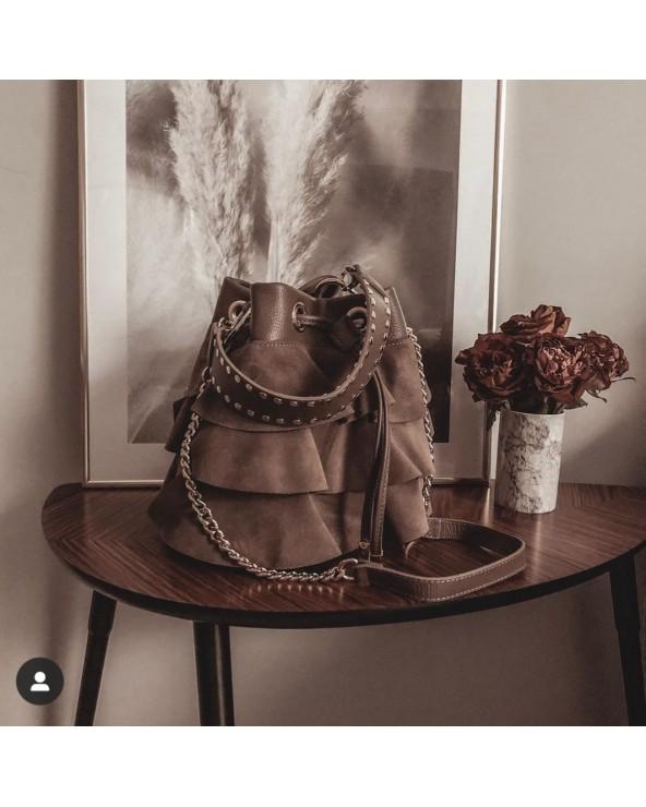 Blogerska torba z falbanami zamszowa taupe