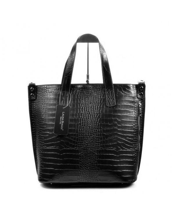 Włoska skórzana torba damska skóra krokodyla czarna stylowa
