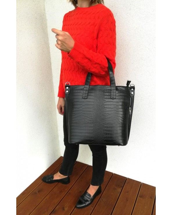 Włoska skórzana torba damska XL skóra krokodyla czarna