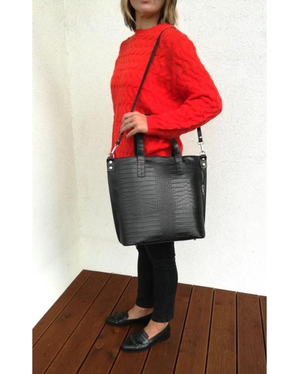 Włoska duża skórzana torba damska skóra krokodyla czarna