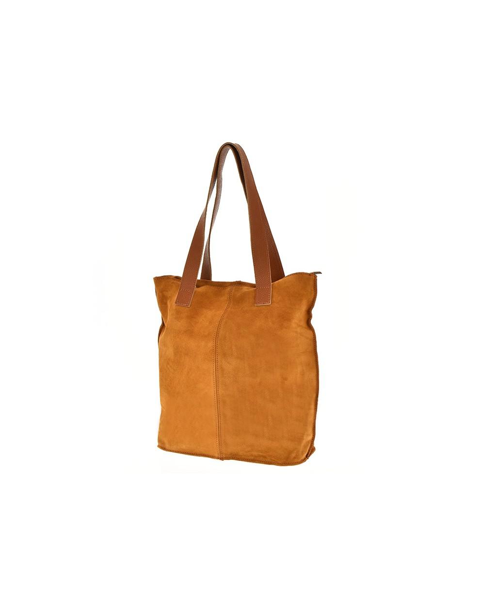 Zamszowa torebka na ramię XL vera pelle camel