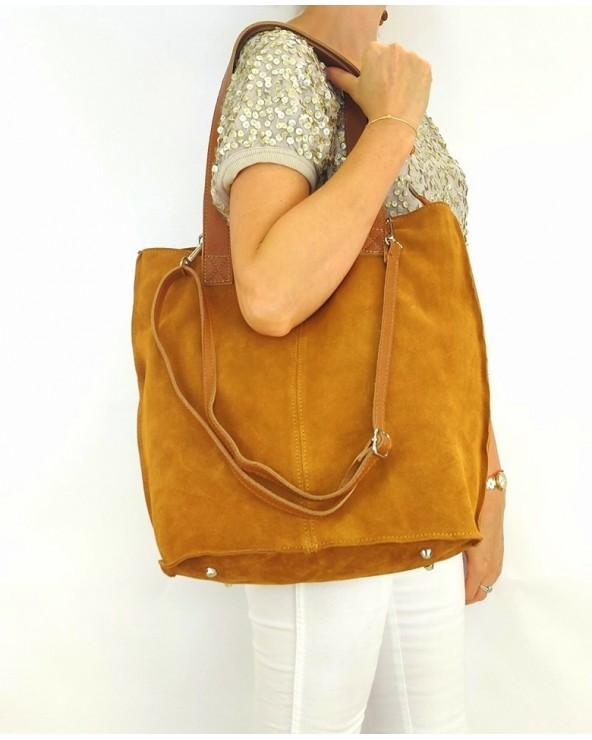 Zamszowa torebka na ramię XL vera pelle camel modelka