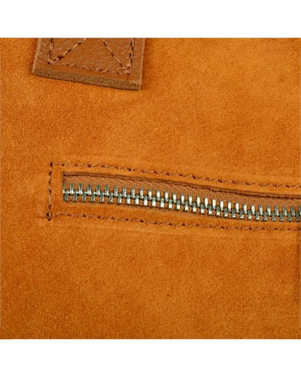 Zamszowa torebka na ramię XL vera pelle camel zamek błyskawiczny