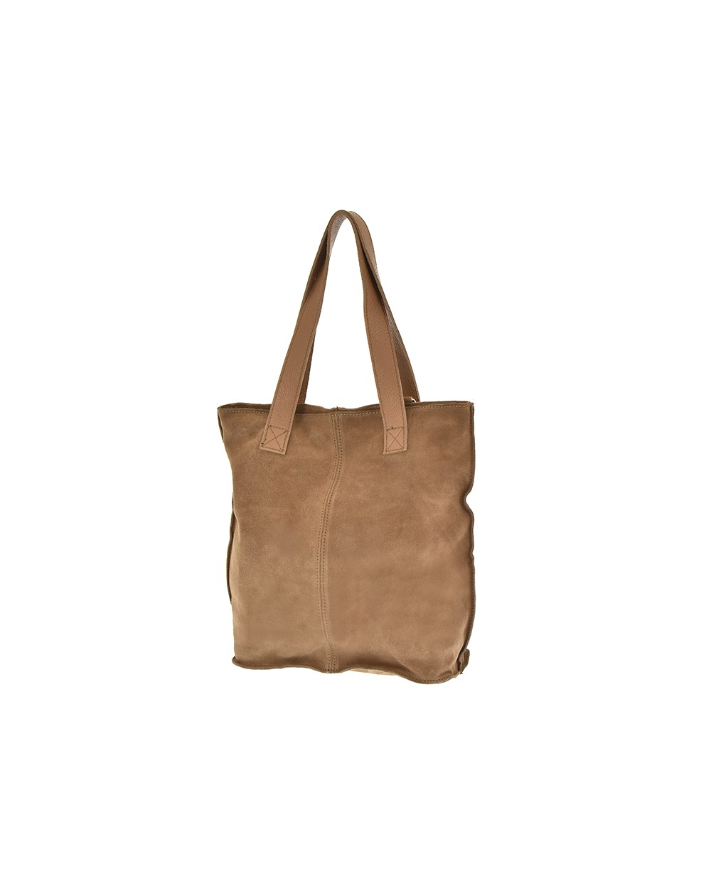 Zamszowa torebka na ramię XL vera pelle taupe