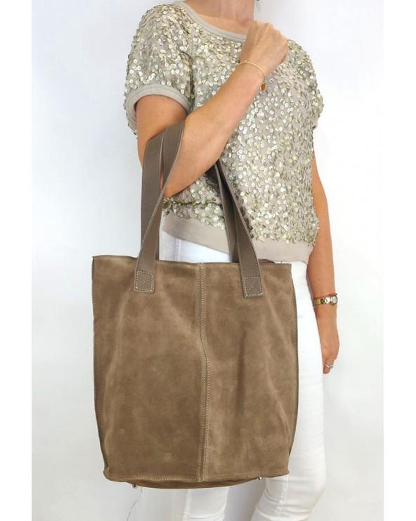 Duża zamszowa torebka na ramię XL vera pelle taupe