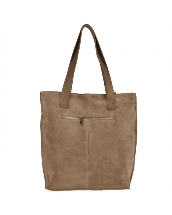 Zamszowa torebka na ramię XL vera pelle taupe tył