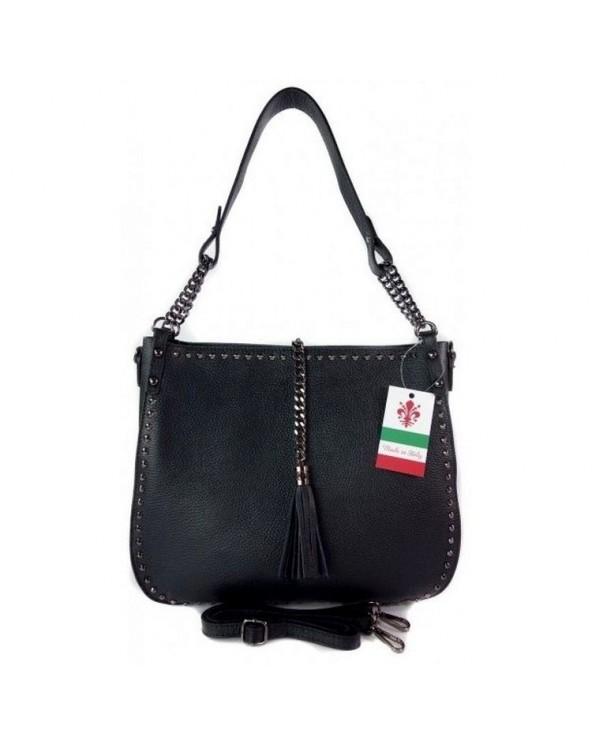 Włoska torebka skórzana z ćwiekami czarna