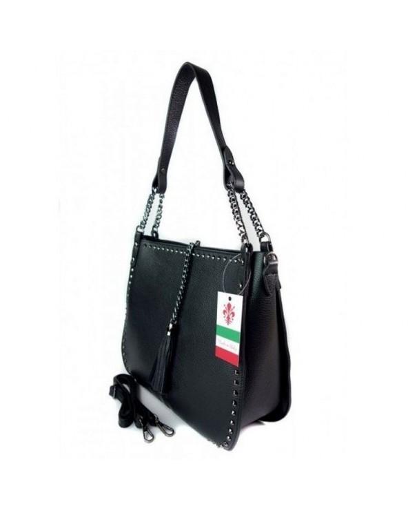 Włoska torebka skórzana z nitami czarna