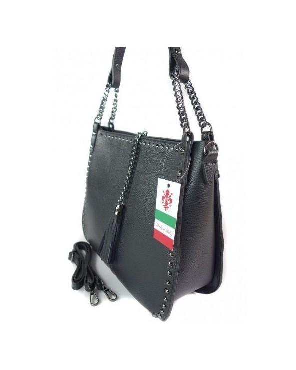 Włoska torebka skórzana ćwieki nity czarna