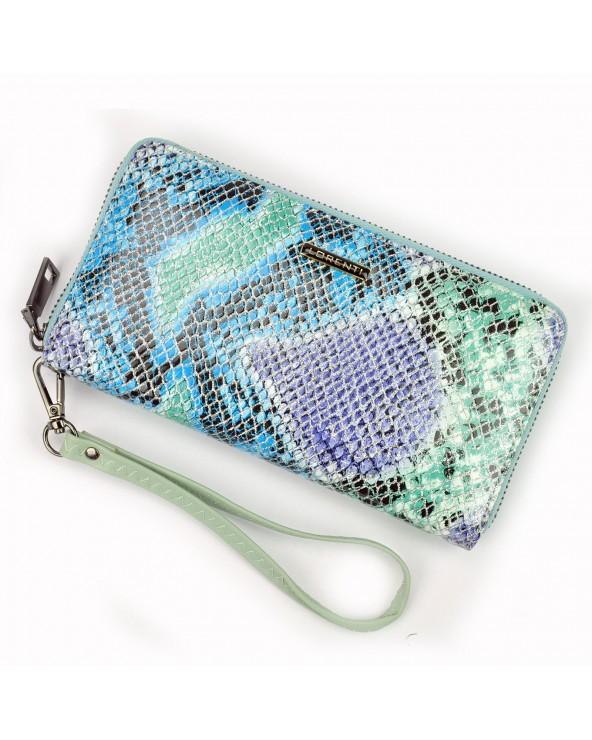Damski portfel kopertówka skóra węża tęczowy stylowa galanteria